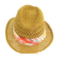 China New Designed Layered hat band with vibrant color Women 100% Straw Fedora on sale