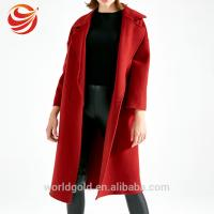 Best Wool Long Women's Casual Winter Coats , Red Color Female Winter Jacket wholesale