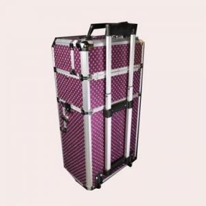 Best Black Lining Aluminium Trolley Case , Polka Dot Makeup Case With Shiny Metal Corners wholesale