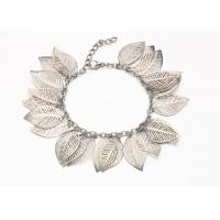 Best Silver Hollow Leaf Costume Jewelry Charm Bracelets With Clasp Extender wholesale
