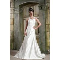 China Simple Strap V Neckline A-line Satin A Line Wedding Dress Gown Bridal Dress With Lace on sale