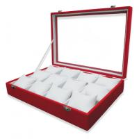 Best Faux Suede Jewelry Display Trays 12 Watch Pillow Tray With Easy View Glass Top wholesale