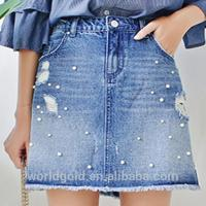 Best Custom Women A LINE Damaged Denim Skirt With Pearls And Frayed Hem wholesale