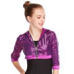 Best MiDee Sequins Hoodies Hip Hop Performance Dance Top Short Jacket For Girls wholesale
