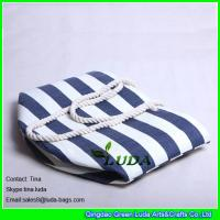 Best LUDA navy blue striped paper straw beach bag cheap wholesale beach bags wholesale
