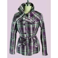 Best Plaid Windproof Double Breasted Overcoat / Jackets For Female wholesale
