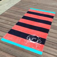 China Crab Red and Black Stripe Promotional Velour Beach Towel with Company Logo on sale