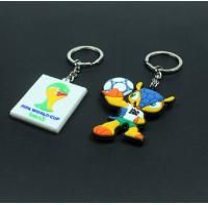 China 2014 Brazil the world cup emblem mascot souvenir emblem ornament armadillo plastic key chain key ring on sale