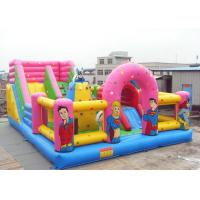 Best Pink PVC Tarpaulin Inflatable Floating Playground , Inflatable Theme Park Fireproof wholesale