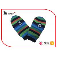 Best Multi Stripe Washable Warm Winter Gloves Knitted Fabric Lining For Baby wholesale