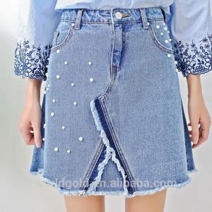 Best Light  Blue Female A LINE Split Denim Skirt With Pearls & Frayed Hem wholesale