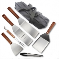 China 7PCS Teppanyaki Tool Set With Wooden Handle or Picnic Accessories For BBQ Tool on sale