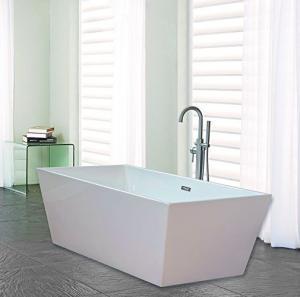 Narrow Edge Portable Acrylic Freestanding Bathtub With End Drain Lightweight