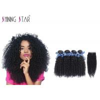 Best 100 Virgin Curly Unprocessed Hair Bundles With Lace Closure In Natural Black wholesale