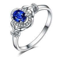 Best Real Sapphire Engagement Rings , Blue Sapphire Ring White Gold For Her wholesale