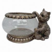 Buy cheap Fish Bowl with Cute Polystone/Greedy Cat, Made of Glass and Polyresin from wholesalers