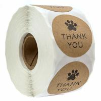 China Brown Kraft Non Adhesive Stickers , Dog Paw Printing Thank You Labels on sale