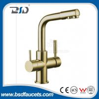 Best Brass Two Spout out Double Handles  Water Filter Purifier 3 Ways Drinking Kitchen Faucet with Watermark Certification wholesale