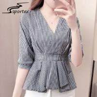 Half Sleeves Ladies Shirts And Blouses High Waist Grey Plaid Women Blouse