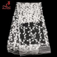 Best 100% Polyester Embroidered Lace Fabric Bussy Floral Lace For Wedding Dress With Swiss Net wholesale