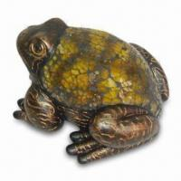 Best Resin Frog Figurine with Yellow Glass Mosaic on the Back and Gold Brush Finish wholesale