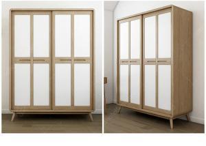China American StyleHotel Room Wardrobe Sliding Door With Glass Door / Wooden Door on sale