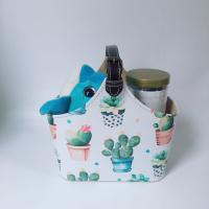 China Flamingo Cactus PU Leather Portable Gift Basket with Large Capacity for Travel Storage Toys Wine Food Picnic on sale