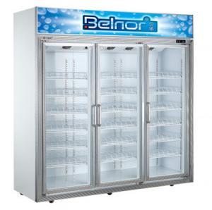 Best Vertical Supermarket Display Refrigerator , Three Glass Door Commercial Fridge Freezer wholesale