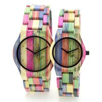 Colorful Handmade Bamboo Wrist Watch For Lovers , Bewell Bamboo Watch