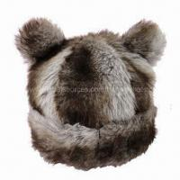 Best Bear-shaped Winter Hat with grey fake fur front and fleece inside wholesale