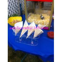 Best 4 Holes Acrylic Plastic Ice Cream Cone Holder, Clear Acrylic Popcorn Cone Display Rack wholesale