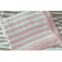 Best eco friendly 100 Cotton Baby Blankets with Stripe pink pattern , sweater knit  wholesale