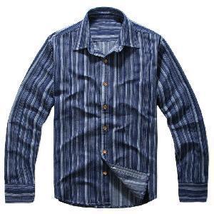 Best Classical Blue Vertical Stripes Cotton Shirts (LC-666) wholesale