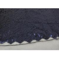 Navy Sequin Mesh Fabric , Embroidered Lace Fabric By The Yard For Evening Dresses