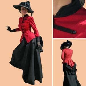 China Civil War Dress Wholesale XXS to XXXL Custom Made Civil War Dress Southern Belle Red & Black Medieval Dress on sale