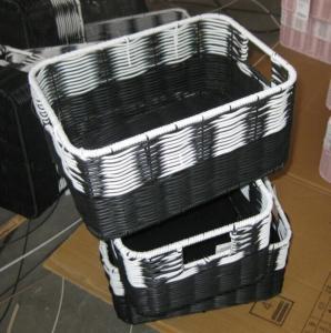 Best China Manufacture Square Plastic Rattan Storage Basket/fruit basket/ sundry basket wholesale