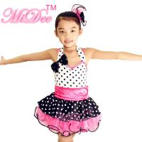 Best Sweet Heart Neckling Tiered Layered Skirt Polka Dots Children'S Dance Costumes wholesale