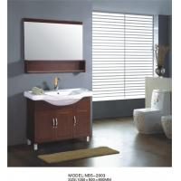 China Different handles custom bathroom vanity solid wood , white wood bathroom wall cabinet optional Waste drain on sale