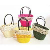 China Fashion Straw Beach Bag Summer Weave Woven Women Shoulder Bags Straw Handbags with Ribbons on sale