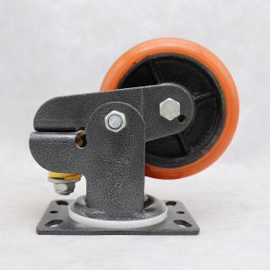 China PU On Cast Iron Spring Loaded Wheel Casters / Heavy Duty Spring Loaded Casters on sale