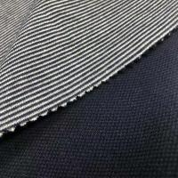 68%polyester32%cotton quilted face polyester double faced interlock stripe fabric for sportswear