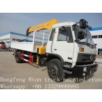 China 2019 best price new Dongfeng 4*2 190hp 6.3ton truck mounted crane for sale, hot sale dongfeng 6.3tons truck with crane on sale
