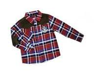 Best Custom Red / Blue Casual Cotton Kids Plaid t shirts,  fromal shirts For 3 - 14 year wholesale