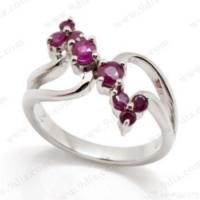 Best Fashionable 925 Sterling Silver Ring With Round 3mm And 2mm Ruby wholesale