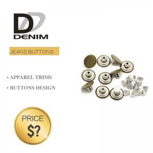 Best Fashion Round Denim Jacket Buttons Silver & Brass Rivet For Garments wholesale