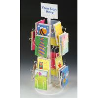 Best Custom Rotating Countertop Greeting Card Display Stands With Sign Clip 16 Pockets wholesale