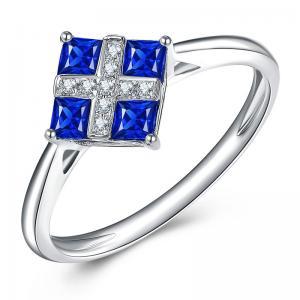 Square Cut Genuine 18k Gold Sapphire Diamond Ring  For Women Wedding
