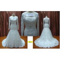 Best Trumpet Strapless with Long Sleeves Jacket Lace Wedding Dress Silhouettes / Bridal Gown wholesale