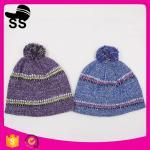 Best 20*24+5cm 100%Acrylic 80g Yiwu Winter Stock Low Price Striped Headwear Ladies Girls Caps Winter Knitting Hats wholesale