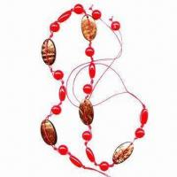 Best Handmade Belt, Made of Wax Cord, Red Plastic Round Beads and Oval Coconut Discs wholesale